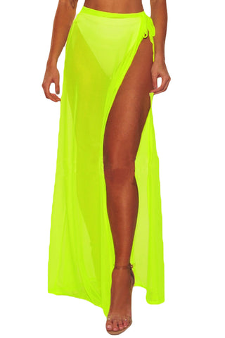 Trendy Neon Yellow Mesh Slit Cover Up Belted Her Fashion Beach Skirt