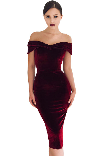 b055bbedda6 Trendy Off Shoulder Ruched Her Fashion Red Velvet Bodycon Party Dress