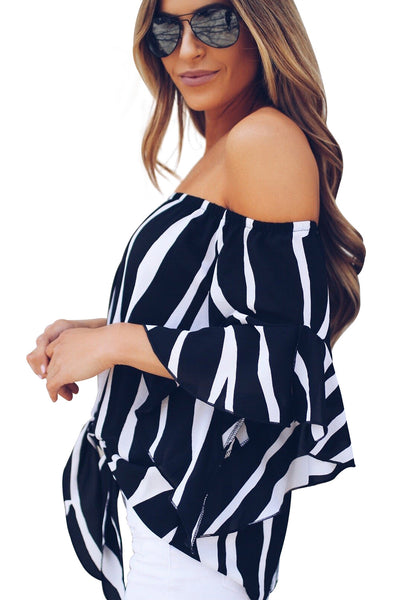 2d9edfbc808 Trendy Off The Shoulder Vertical Stripes Her Fashion Blouse in Pink ...