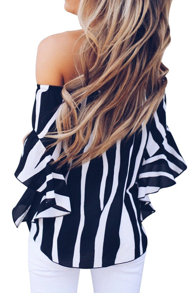 Trendy Off The Shoulder Vertical Stripes Her Fashion Blouse in Blue