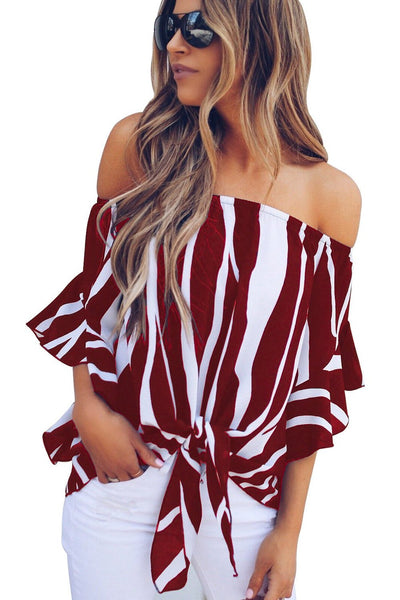 Trendy Off The Shoulder Vertical Stripes Her Fashion Blouse in Black