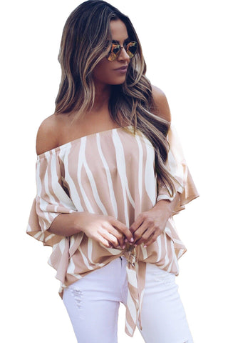 Trendy Off The Shoulder Vertical Stripes Her Fashion Blouse in Pink