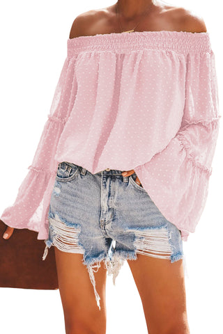 Trendy Pink Swiss Dot Bell Sleeves Her Fashion Off The Shoulder Top