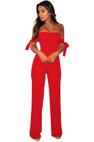 Trendy Red Off Shoulder Tie Knot Her Fashion Strapless Jumpsuit