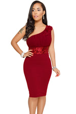Trendy Red One Shoulder Her Fashion Embroidered Cocktail Midi Dress