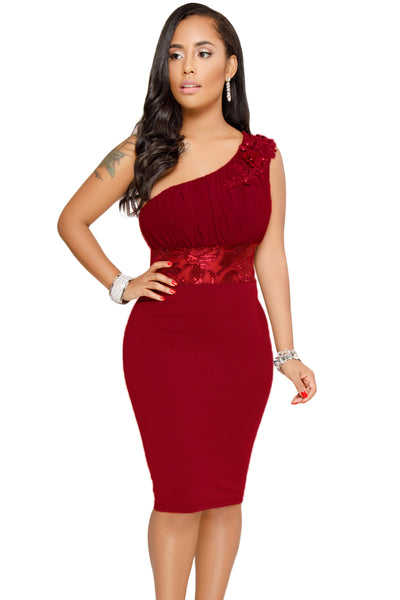 Trendy Pink One Shoulder Her Fashion Embroidered Cocktail Midi Dress