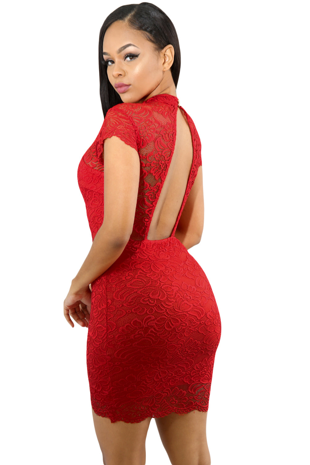 Trendy Red Sweet V-Lace Short Sleeve Her Fashion Bodycon Mini Dress