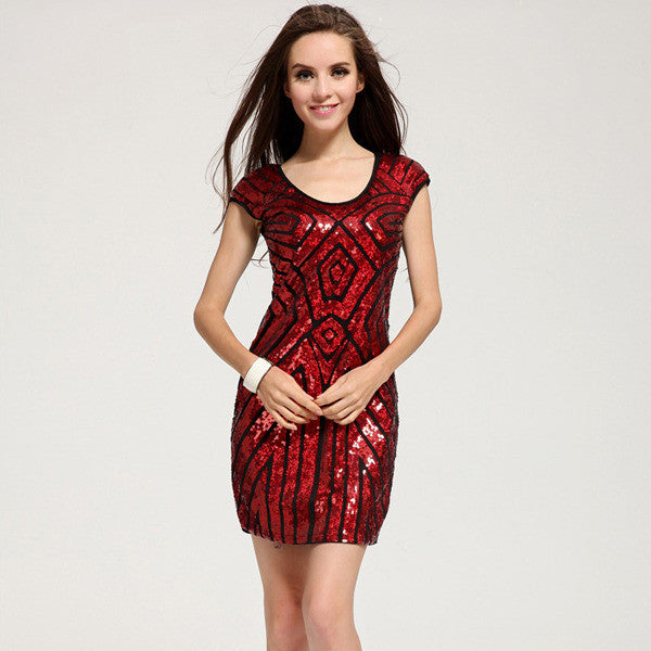 """Trendy Series"" Sequined Sewed  Pencil Skirt with Geometric Sleeveless Mini Dress"