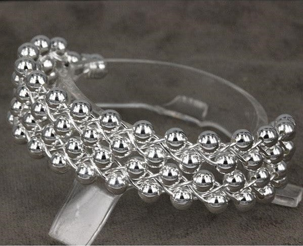 """Trendy Series""  925 Sterling plated Bracelets beads Bangles"