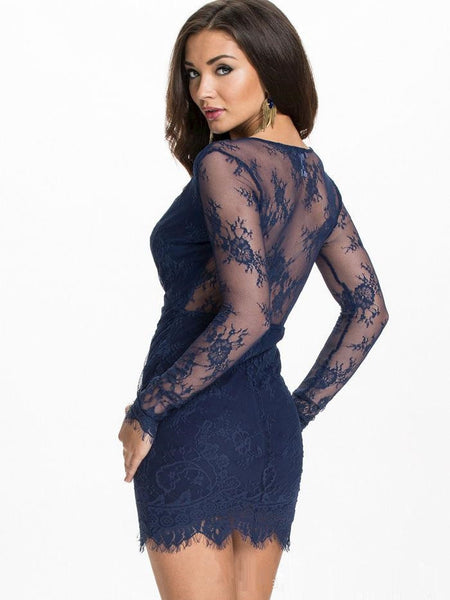 Her Trendy Asymmetrical Sexy Bodycon Black Lace Party Mini Dress