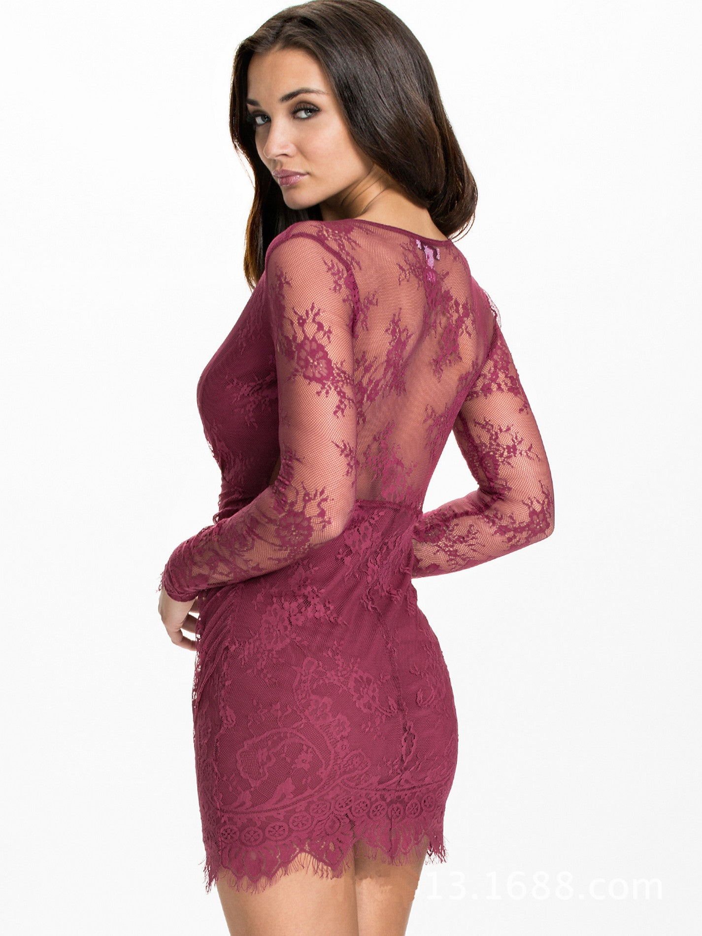 Her Trendy Asymmetrical Sexy Bodycon Maroon Lace Party Mini Dress