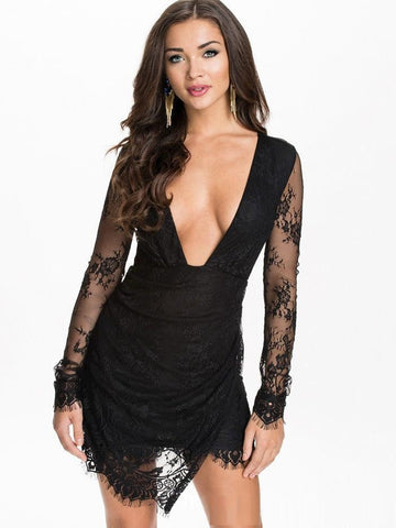 """Trendy Series"" Asymmetrical Sexy Bandage Bodycon Lace Evening Party Cocktail Mi"