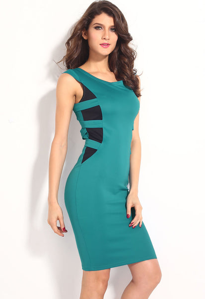 """Trendy Series"" Aqua European Fashion Cross Back Strapping Midi Dress"
