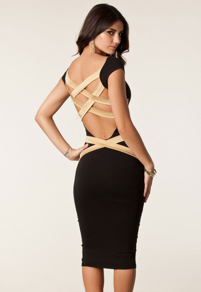 """Trendy Series"" Black European Fashion Cross Back Strapping Midi Dress"
