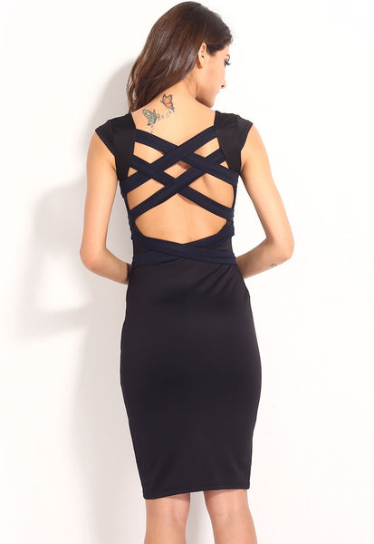 """Trendy Series"" Dark Blue European Fashion Cross Back Strapping Midi Dress"