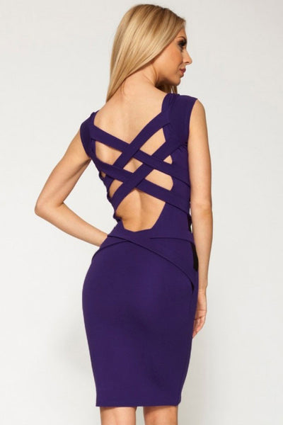 """Trendy Series"" Purple European Fashion Cross Back Strapping Midi Dress"