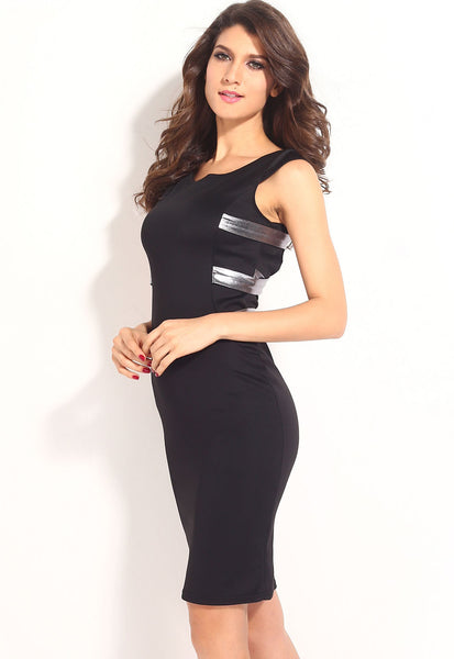 """Trendy Series"" Silver Grey European Fashion Cross Back Strapping Midi Dress"