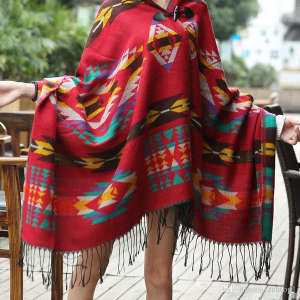 """Trendy Series"" Bohemian Shawl Thick Hooded Cape Poncho"