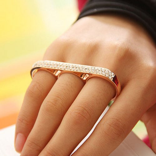 """Trendy Series"" Conjoint Diamante Rings For Women"