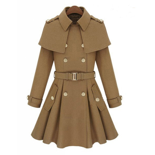 """Trendy Series"" European Style Long Wool Trench Coat"