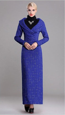 """Trendy Series""  Floor-Length Long-Sleeve European Ruffle Peplum Print Long Slim Dress"