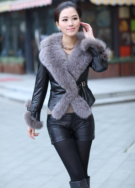 """Trendy Series""  Imitated Faux Sheepskin Leather Fox Fur Collar Single Breasted  Jacket"
