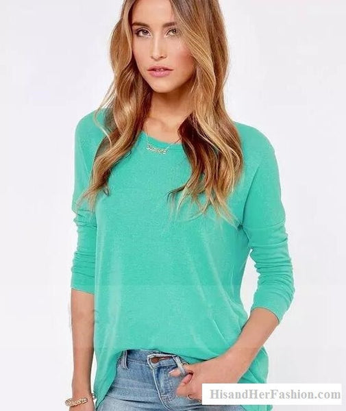 """Trendy Series"" Long Sleeve Round-Neck Cotton T-Shirt With Zipper"