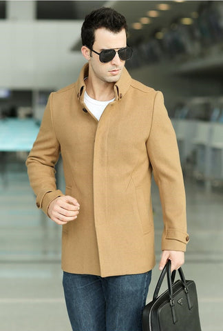 """Trendy Series""  Men's Jackets Wool Brand Stand up Collar Single-Breasted Long Sleeve  Fashion Coat"