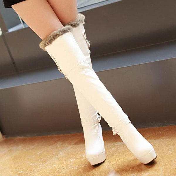 """Trendy Series"" Pika Fur Round Toes / Thigh High / High Heel Buckles Boots"
