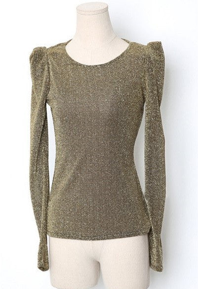 """Trendy Series"" Round Neck Long Sleeve Lurex Embellished  Women's Blouse"