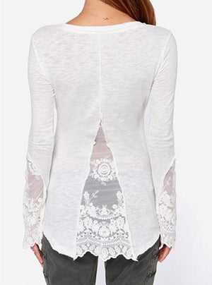 """Trendy Series"" Scoop Collar Long Sleeve See-Through Women's T-Shirt"