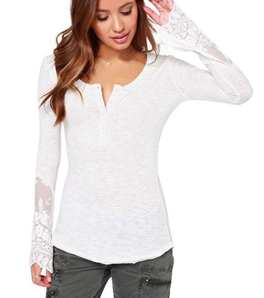 trendy series scoop collar long sleeve see through women