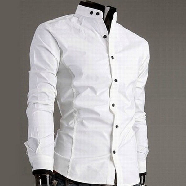 Trendy Series Stand Collar Long Sleeve Dress Shirt For Men