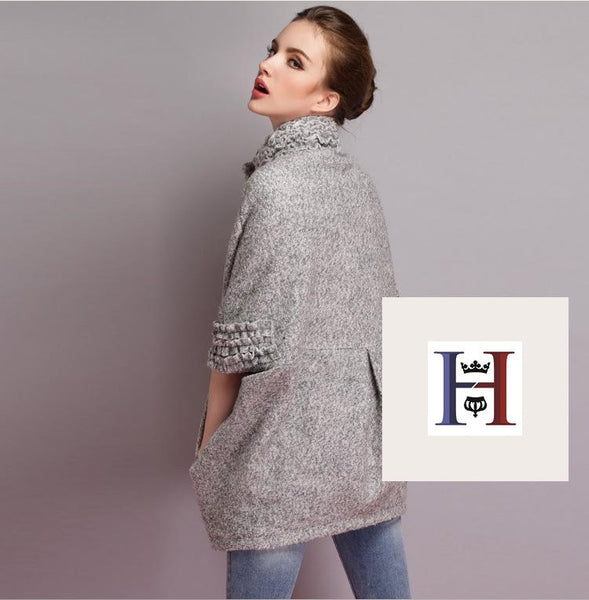 """Trendy Series"" Stand Up Collar Bat Sleeve Woolen Winter Coat"