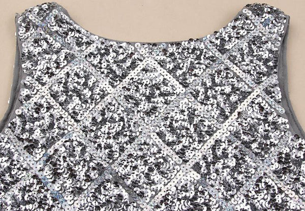 """Trendy Series"" Tank Scoop Sleeveless  Knee-length Silver Sequin Dress"