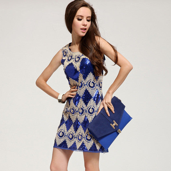 """Trendy Series"" Sewed Sequined Sleeveless Pencil Dress New Arrival"