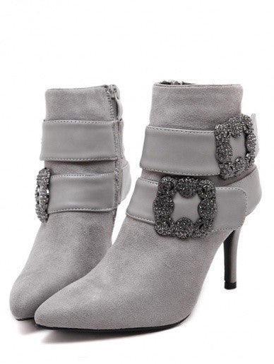 Trendy Style Graceful Drill Decoration Grey Ankle Boots Women Shoes