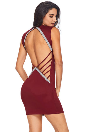 Trendy V Neck Hollow-out Silver Trim Burgundy Bodycon Women Club Dress
