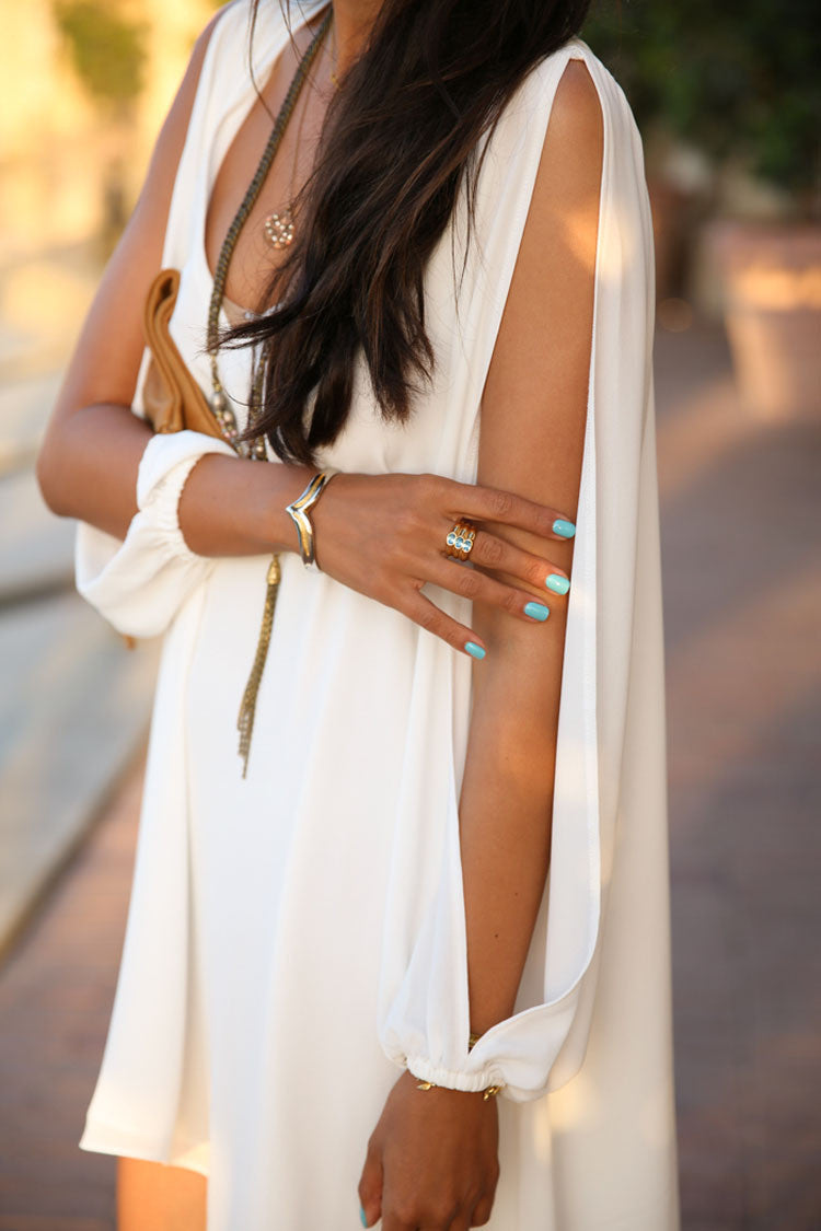 Trendy White Chiffon Leisure Jersey Her Mini Dress