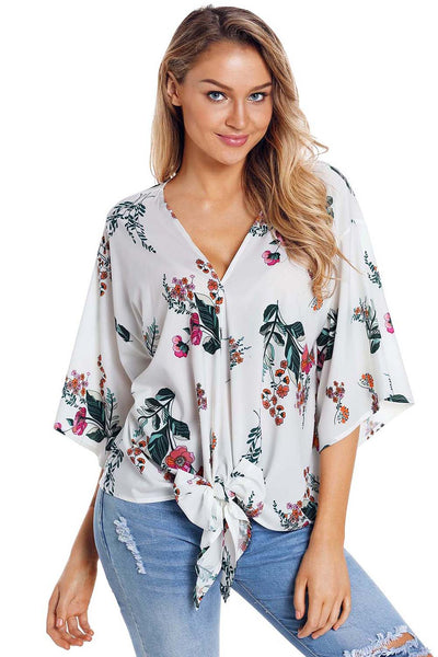 Trendy Black Flowery Print Tie Front Her Fashion Kimono Sleeve Blouse