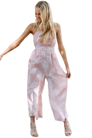 Trendy White Leaf Vein Print Pink Wide Leg Her Fashion Jumpsuit