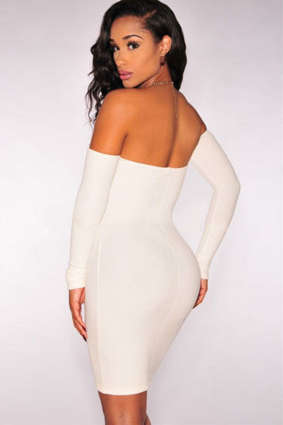 Trendy White Off-The-Shoulder Long Sleeves Dress