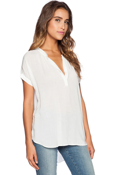 Trendy White Short Sleeve Loose fitted Chiffon Blouse