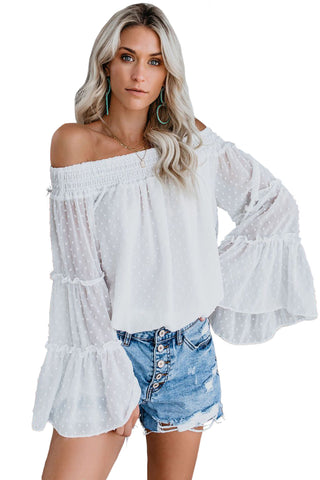 Trendy White Swiss Dot Bell Sleeves Her Fashion Off The Shoulder Top