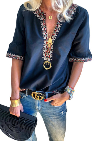 Trendy and Gorgeous Her Fashion Blue Boho Floral V Neck Casual Top