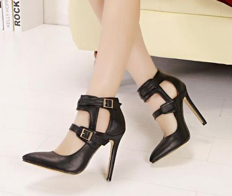 Trendy buckle Chic pointed toe high-heeled shoe