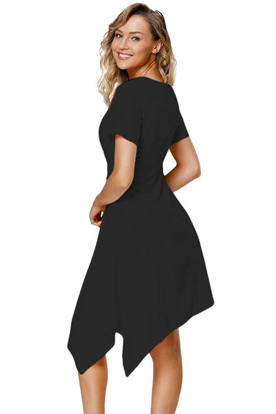 "Trendy""n""Modest Black Twist Front Jersey Her Fashion Midi Dress"