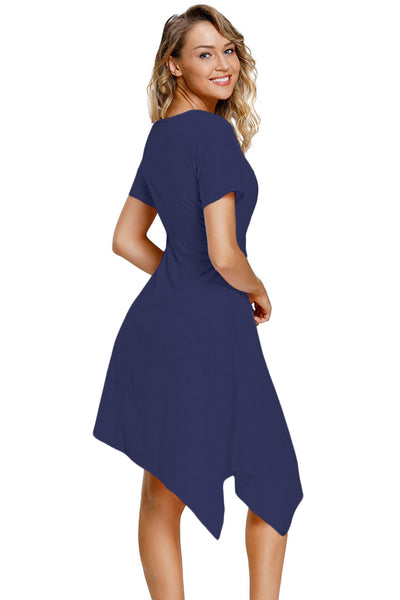 "Trendy""n""Modest Navy Twist Front Jersey Her Fashion Midi Dress"