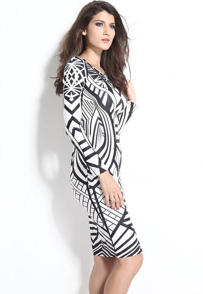 Tribal Aztec HerFashion Black White Tight-fitting Midi Dress
