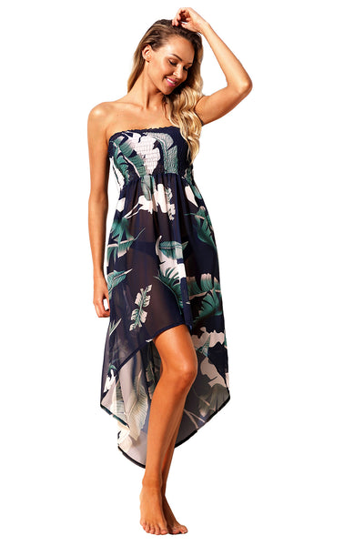 Tropical Leaf Print Her Fashion Cover-Up Navy Convertible Beach Dress